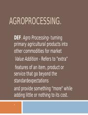 APPROPRIATE AGROPROCESSING  TECHNOLOGIES