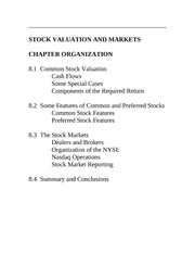 Stock Valuation and Markets Notes
