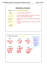 simplifying square roots radicals notes - simplifying ...
