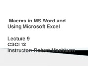 PowerPoint Day 9 - Word Macro and Working with MS Excel