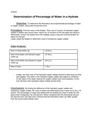 determination of percentage of water in a hydrate.