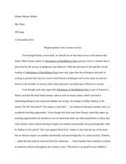hucks adolscent essay