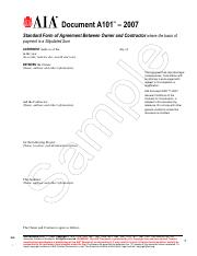 A101-2007 eSample - TM Document A101 2007 Standard Form of