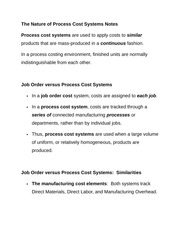 The Nature of Process Cost Systems Notes