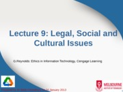 Lecture 9 - Legal, Social and Cultural Issues