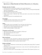 2. Supplementary Handout - Questions to help identify the thical dimension of a situation