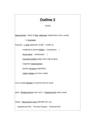 Geology 404C Plate Tectonics & Earth History Outline 2