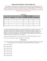 Risk Management Task Template