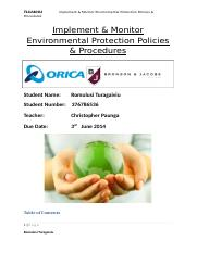 Implement & Monitor Enviromental Protection Policies & Procedures (1).doc