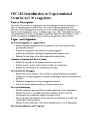 SEC310 Introduction to Organizational Security and Management