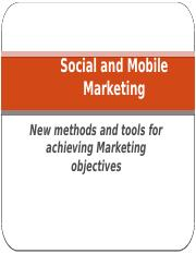 Chapter 3 - Social and Mobile Marketing