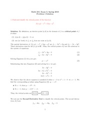 Exam 2 Solution on Calculus III Spring 2010