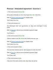 Pronoun - Antecedent Agreement - Pronoun Antecedent Agreement ...