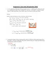 thermodynamics assignment 1