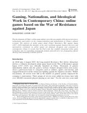 Gaming, Nationalism, and Ideological Work in Contemporary China- online games based on the War of Re