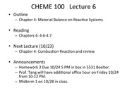 CHEME 100 #06 Reactive Systems 2