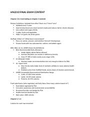 Human Nutrition Final Exam Study Guide