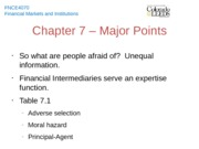 Chapter 7 - Major Points