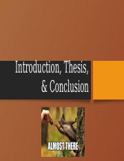 Introduction, Thesis & Conclusion