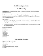 Food Processing and Dairy