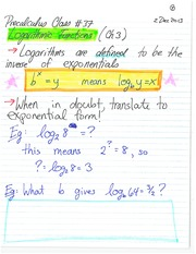 MATH 11 Fall 2013 Logarithmic Functions Class Notes