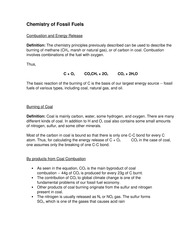 Chemistry of Fossil Fuels Notes