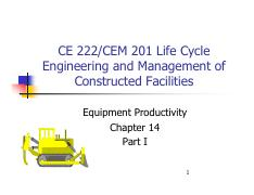 Chapter 14 - Equipment Productivity Part I(1)
