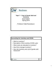 Topic 7 Cost of Goods Sold and Inventory - HANDOUT
