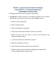 Financial Part 2 - The Financial Statements Assignment Instructions