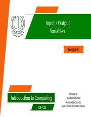 8- Input Output - variables