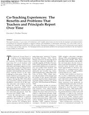 Co-teaching experiences. The benefits and problems that teachers and principals report over time