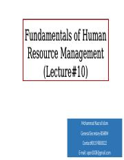 Fundamentals of HRM (Lecture# 10)