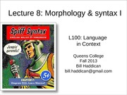 Lecture 8 Morphology and Syntax