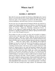 where am i daniel dennett thesis Will be attained by exploring the contrast between daniel dennett's intentional   of dennett's thesis is that if a system holds true beliefs and could be assigned.