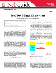 Feed Dry Matter Conversions