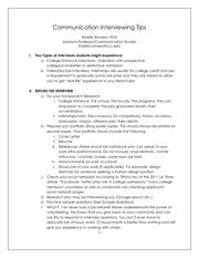 Communication Interviewing Tips Information Packet