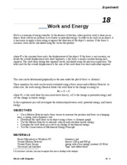 Possible Work and Energy lab