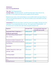 Cost of Living Worksheet