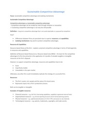 Sustainable Competitive Advantage Study Guide