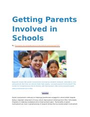 Getting Parents Involved in Schools