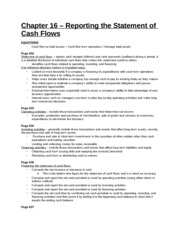 Study Guide - Chapter 16 - Reporting the Statement of Cash Flows