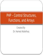 PHP - Control Structures, Functions, and Arrays.pptx