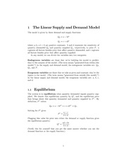 lecture 3 handout - supply and demand
