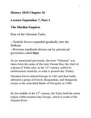 History 1010 Chapter 16 Lecture Sep 1 Part One