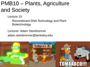 15 - Recombinant DNA Technology and Plant Biotechnology