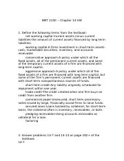 BMT 2100 Chapter 14 HW(1) (1).doc