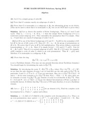 Abstract Algebra Exam Study Guide Spring 2012