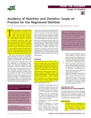 Scope of Practice for Registered Dietitians