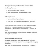 Managing Voluntary and Involuntary Turnover Notes