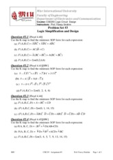CSE255 Logic Problem Set #3 Logic simplification and design
